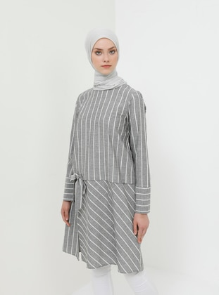 Black - Stripe - Crew neck - Cotton - Tunic