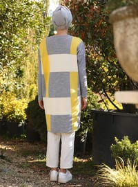 Yellow - Gray - Geometric - Checkered - Plaid - Crew neck - Cotton - Acrylic - Tunic
