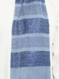 Indigo - Striped - Plain - Fringe - Viscose - Shawl