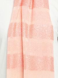Salmon - Striped - Plain - Fringe - Viscose - Shawl