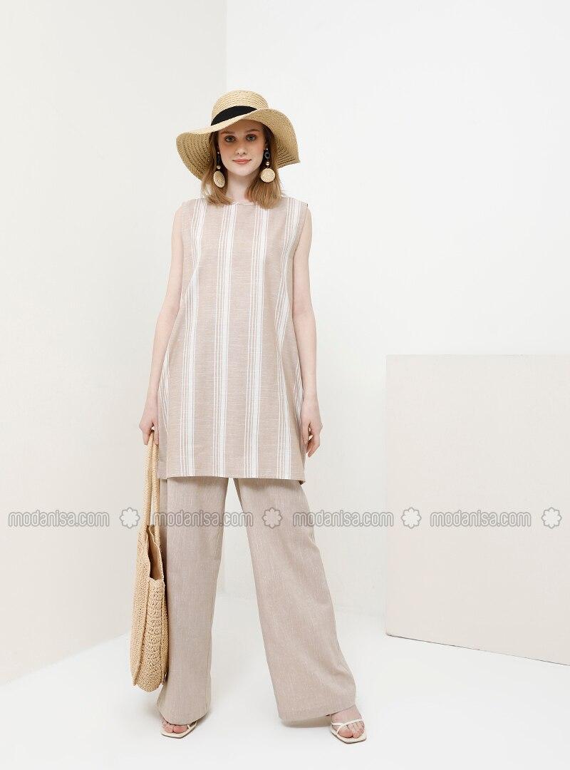Camel - Stripe - Crew neck - Cotton - Tunic