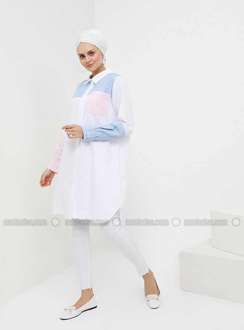 Blue - White - Pink - Point Collar - Cotton - Tunic