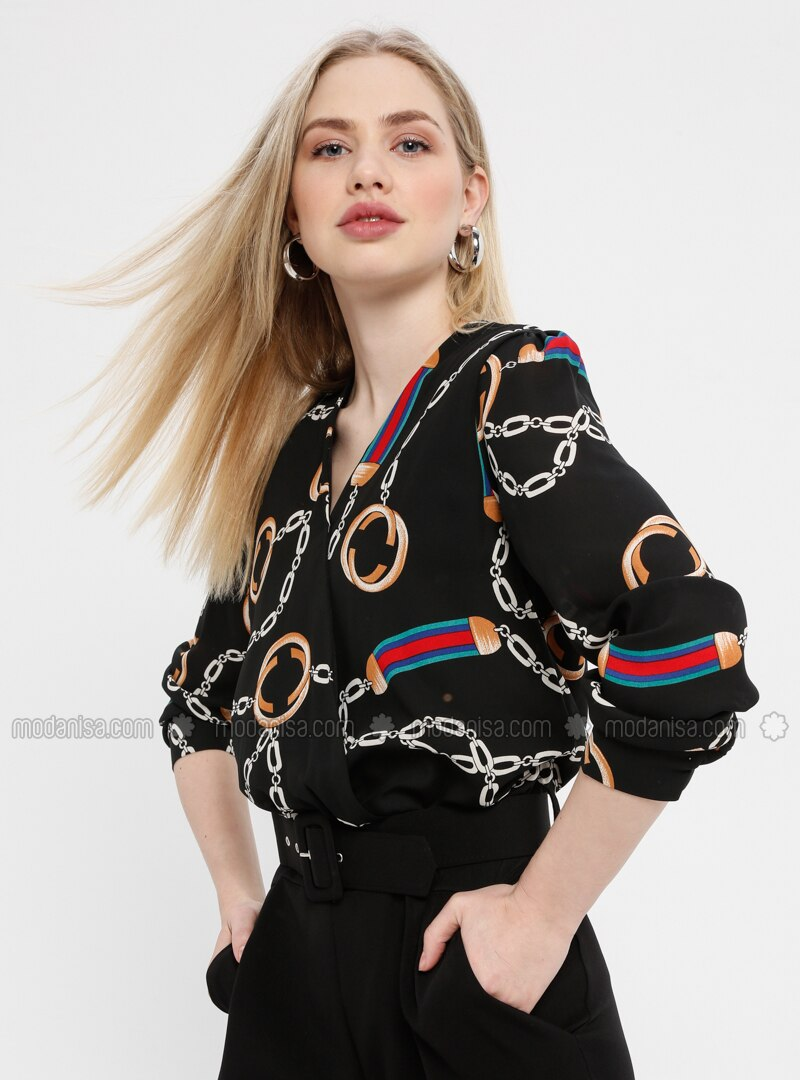 Black - Multi - Unlined - V neck Collar - Jumpsuit