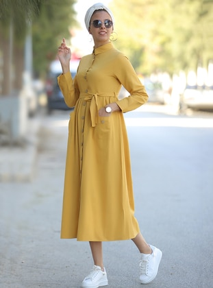 Mustard - Point Collar - Unlined - Dress - Por La Cara