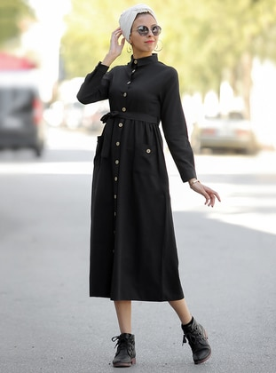 Black - Point Collar - Unlined - Dress
