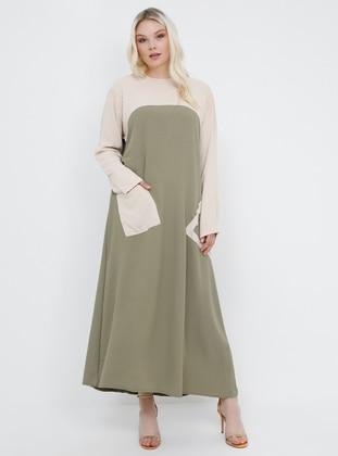 Beige - Khaki - Unlined - Crew neck - Plus Size Dress