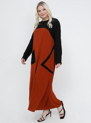 Black -  - Unlined - Crew neck - Plus Size Dress