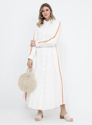 White - Orange - Ecru - Unlined - Point Collar - Cotton - Plus Size Dress