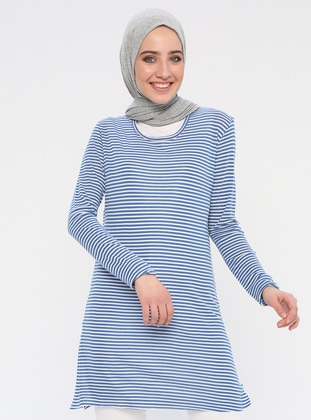 Blue - Stripe - Crew neck - Cotton - Tunic