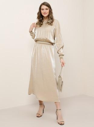 Beige -  - Unlined - V neck Collar - Viscose - Plus Size Dress