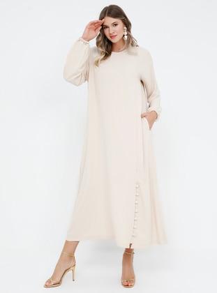 Beige - Unlined - Crew neck - Plus Size Dress
