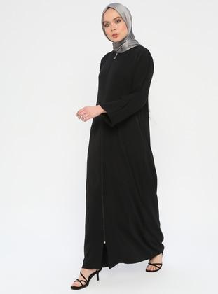 Black - Multi - Unlined - Crew neck - Abaya