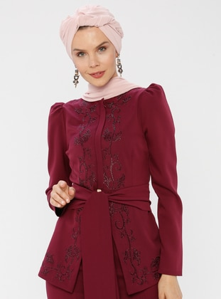 Unlined - Fuchsia - Cherry - Crew neck - Evening Suit