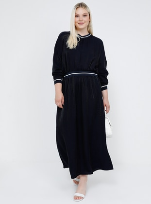 Navy Blue - Unlined - V neck Collar - Viscose - Plus Size Dress