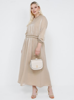 Beige -  - Unlined - V neck Collar - Viscose - Plus Size Dress