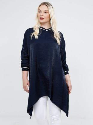 Navy Blue - V neck Collar - Viscose - Plus Size Tunic