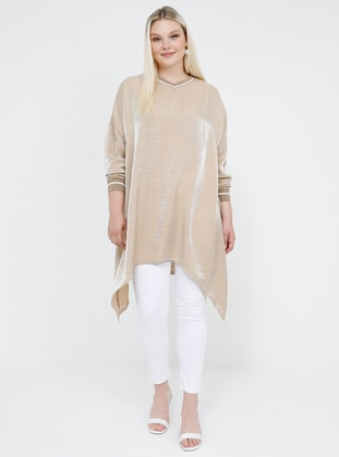 Beige -  - V neck Collar - Viscose - Plus Size Tunic