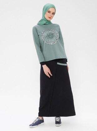 Green - Black - Unlined - Cotton - Suit