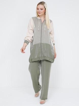 White - Ecru - Khaki - Unlined - Plus Size Suit