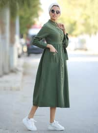 Haki - Fransız yakalı - Astarsız kumaş - Elbise
