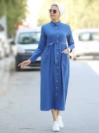 Lacivert - Fransız yakalı - Astarsız kumaş - Elbise