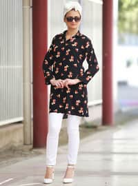 Navy Blue - Floral - Point Collar - Blouses