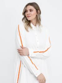 Beyaz - Turuncu - Ekru - Astarsız - Fransız yakası - Pamuklu - Büyük beden elbise
