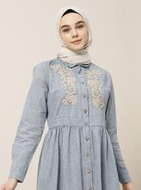 Mavi - Fransız yaka - Astarsız kumaş - Pamuk - Elbise
