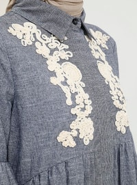 Blue - Stripe - Button Collar - Unlined - Cotton - Dress