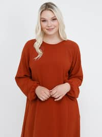 - Unlined - Crew neck - Plus Size Dress
