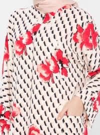 White - Pink - Fuchsia - Houndstooth - Unlined - Crew neck - Abaya