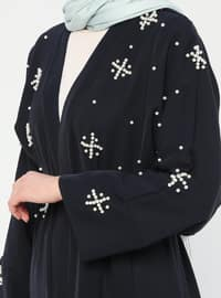 Navy Blue - Unlined - Shawl Collar - Abaya