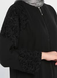 Siyah - Çok Renkli - Astarsız Kumaş - Yuvarlak Yaka - Ferace