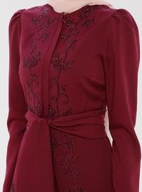 Unlined - Fuchsia - Cherry - Crew neck - Evening Suit