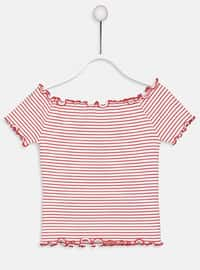 Red - Stripe - Girls` T-Shirt