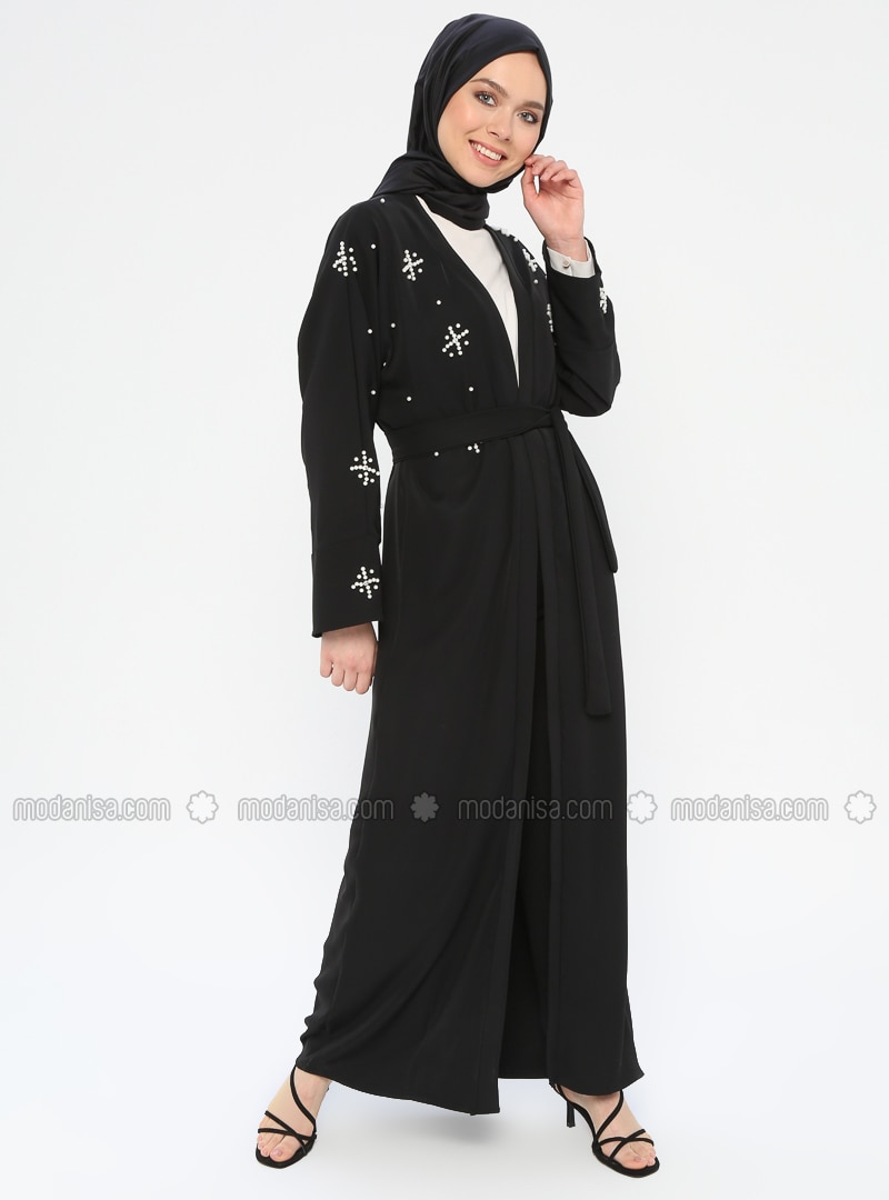 Black - Unlined - Shawl Collar - Abaya