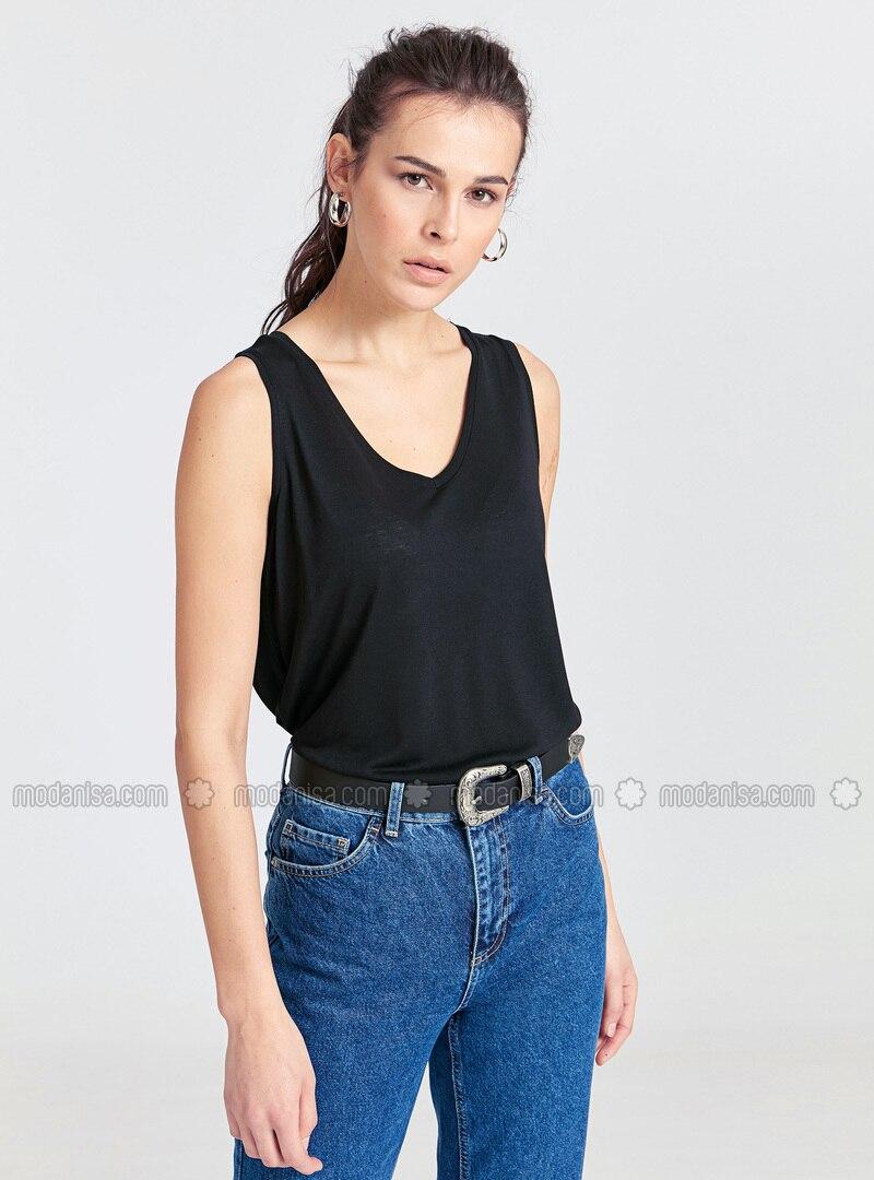 Black - V neck Collar - Undershirt
