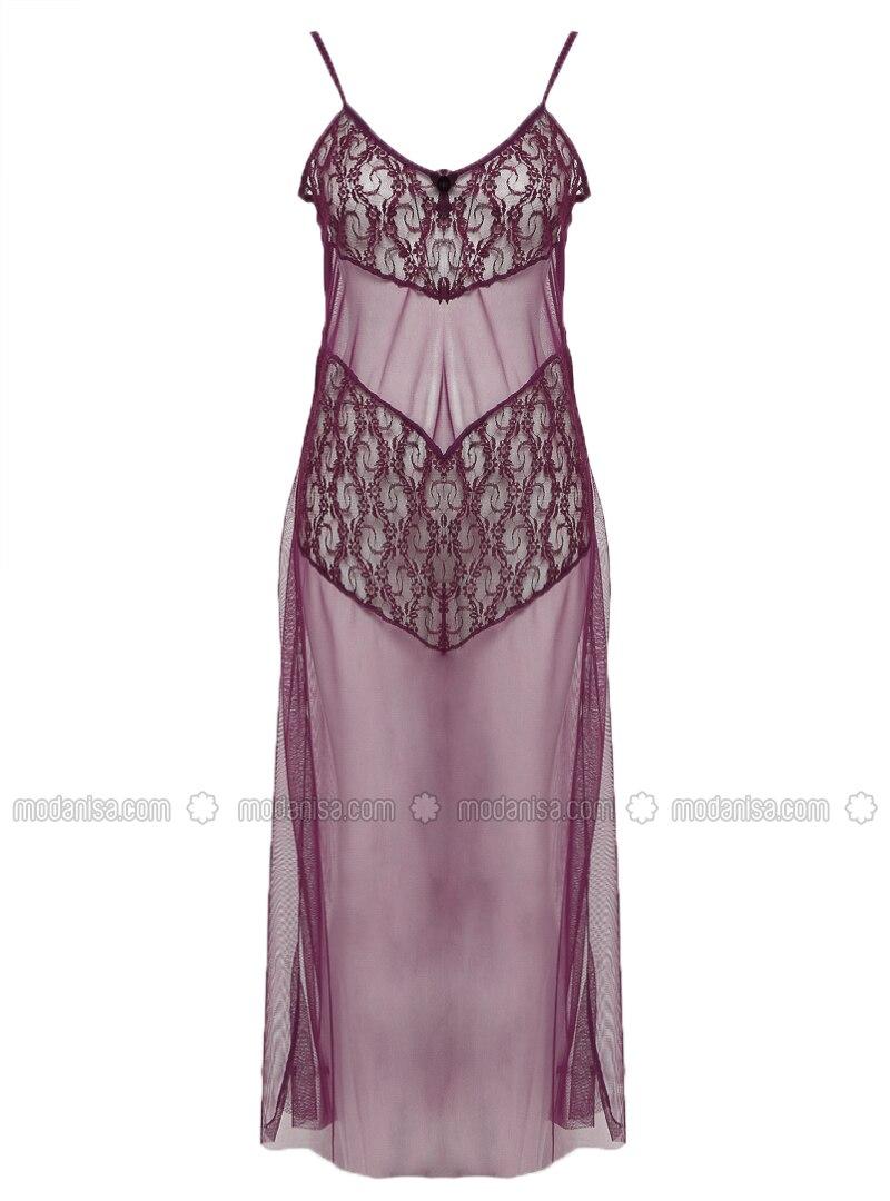 Purple - V neck Collar - Nightdress