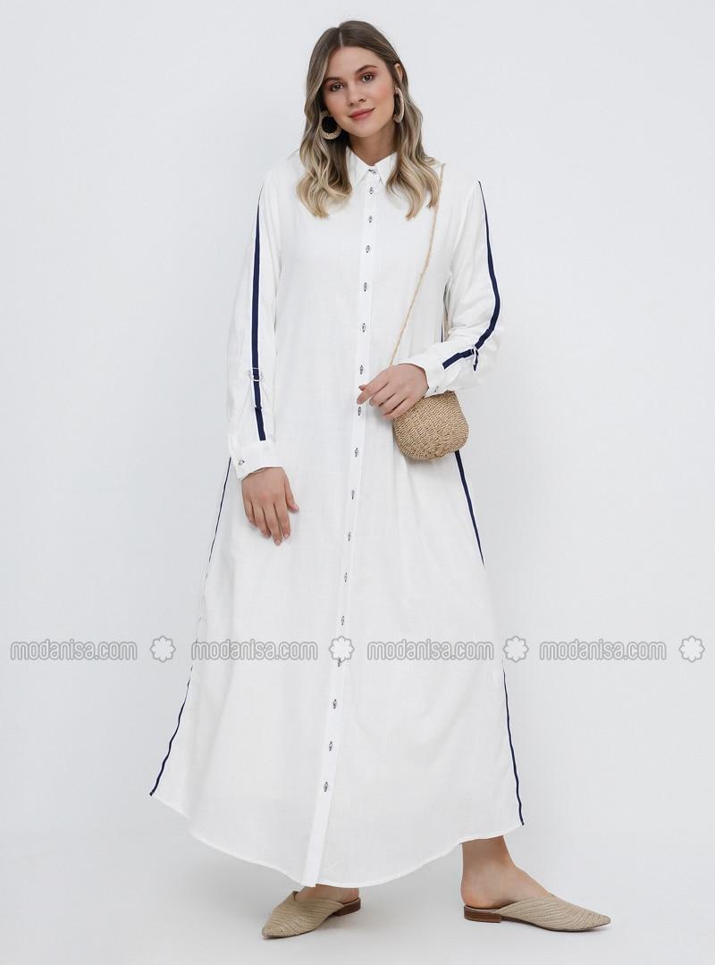 White - Navy Blue - Ecru - Unlined - Point Collar - Cotton - Plus Size Dress