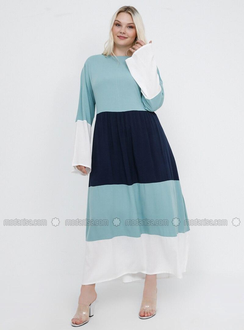 Navy Blue - Mint - Unlined - Crew neck - Viscose - Plus Size Dress