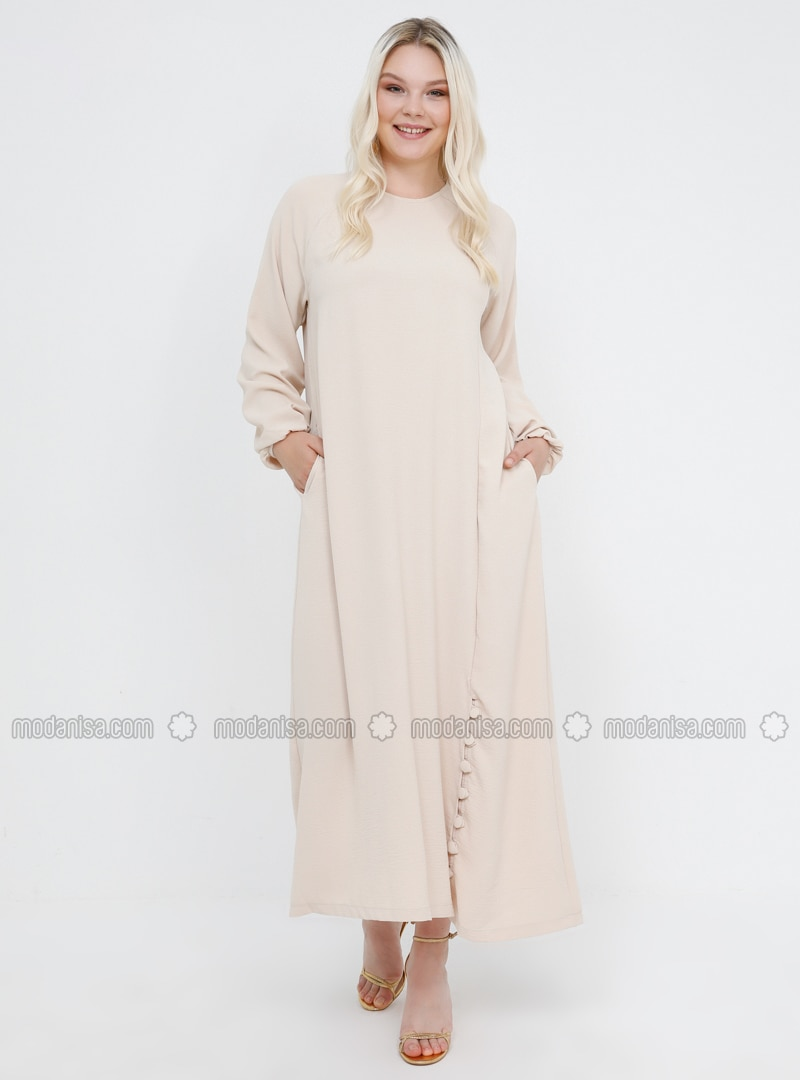 Beige - Unlined - Crew neck - Plus Size Dress