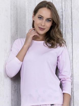 Pink - Crew neck - Cotton - Pyjama