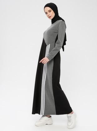 Black - Smoke - Stripe - Crew neck - Unlined - Cotton - Dress