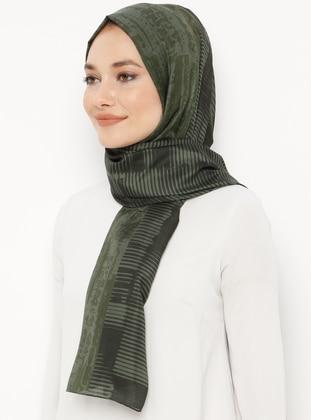 Khaki - Printed - Cotton - Shawl