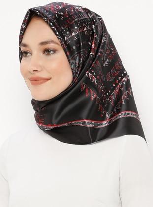 Black - Digital Printing - Ethnic - Scarf - Renkli Butik