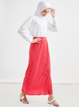 Fuchsia - Unlined - Cotton - Viscose - Skirt