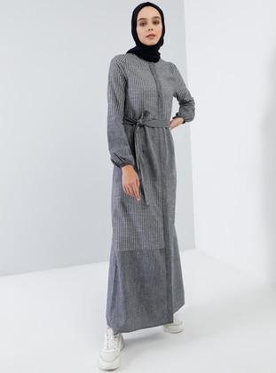 Indigo - Navy Blue - Stripe - Button Collar - Unlined -  - Dress