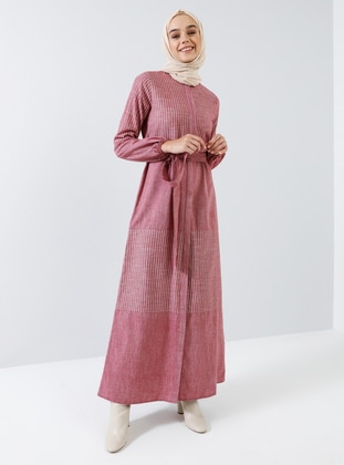 Red - Stripe - Button Collar - Unlined -  - Dress