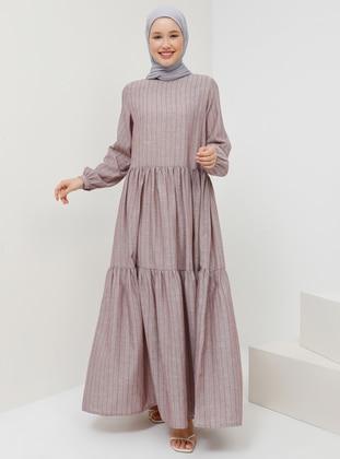 Plum - Stripe - Crew neck - Unlined - Cotton - Dress