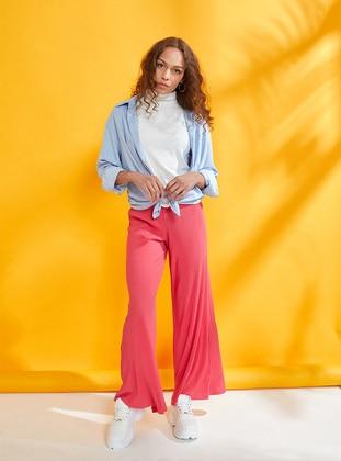 Fuchsia - Cotton - Viscose - Pants